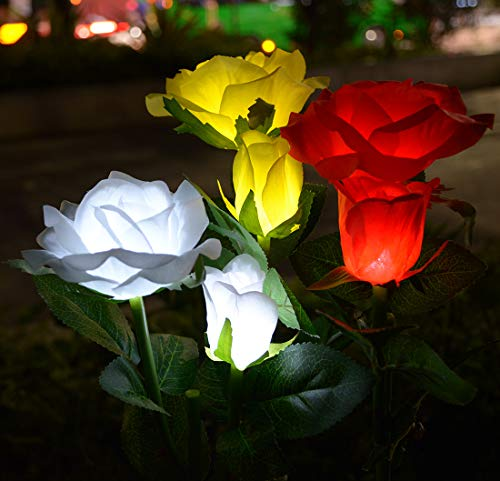 Viewpick Outdoor Artificial Solar Powered Rose Lights 3 Pack Solar Garden Stake Lights with 6 Rose Flowers LED Garden Lights for Patio Yard Pathway Christmas Decoration(White,Red,Yellow)