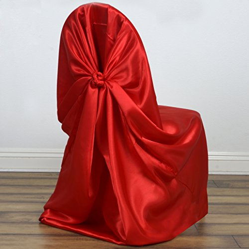 BalsaCircle 50 pcs Red Universal Satin Chair Covers