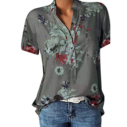 vermers Womens Plus Size Blouses Casual Floral Printing Pocket Short Sleeve Button Shirts Easy Tops T-Shirt(M, Gray)
