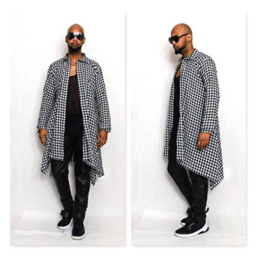 Draped Oversized Black and White Long-Sleeve Check Flannel Shirt With Draped Hem Inspired by Dsqaured Cotton Flannel Buttondown Active by Culture And Fate