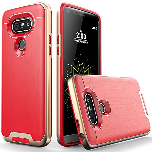 Tough Hybrid Dual Layer Case for LG G5 (Red) - 5