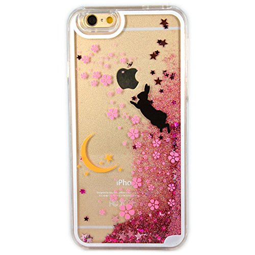 iPhone SE Case, SwiftBox Flowing Liquid Floating Bling Glitter Sparkle Stars Hard Case for iPhone 5 5S SE with 0.3mm Tempered Glass Screen Protector + Owl Phone Strap (Moon and Rabbit)