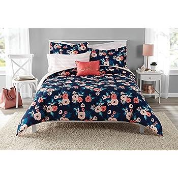 Amazon Com 8 Piece Navy Blue Pink Garden Flowers Theme