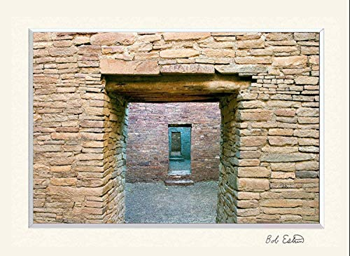 11 x 14 inch mat including photograph of ancient stone walls and doors at the Pueblo Bonito Ruin at Chaco Canyon, NM.