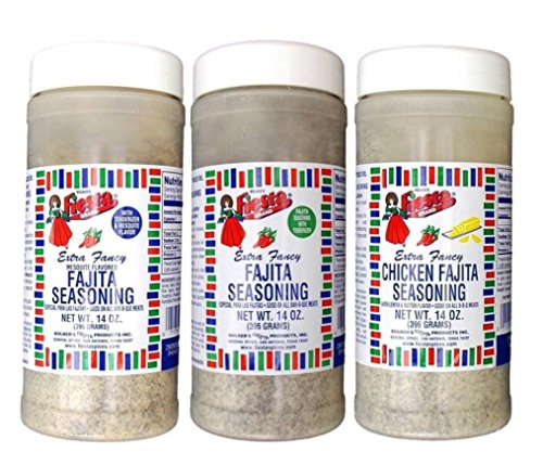 Fajita Rub - Bolner's Fiesta Extra Fancy Fajita Seasoning Large Jar 3 Flavor Variety Bundle: (1) Fajita, (1) Mequite Fajita, and (1) Chicken Fajita, 14 Oz. Ea.
