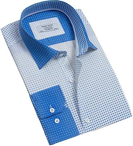 Russell /& Giles Camisa de algod/ón puro para hombre con estampado de cachemira.