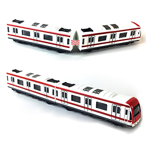 VANTIYAUS Train Model, 4pcs Toy Car Set Alloy City Rail Subway Train Model,1/64 Scale Alloy Subway/Car Model ToysPlay, Red White