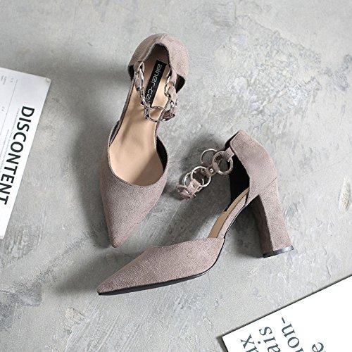 in di singole Tirante una grigio 34 con satinato alti cava con molla asolato di scarpe scarpe donna scarpe tacchi con la i metallo spesso scarpe sandali punta txrwYrU7