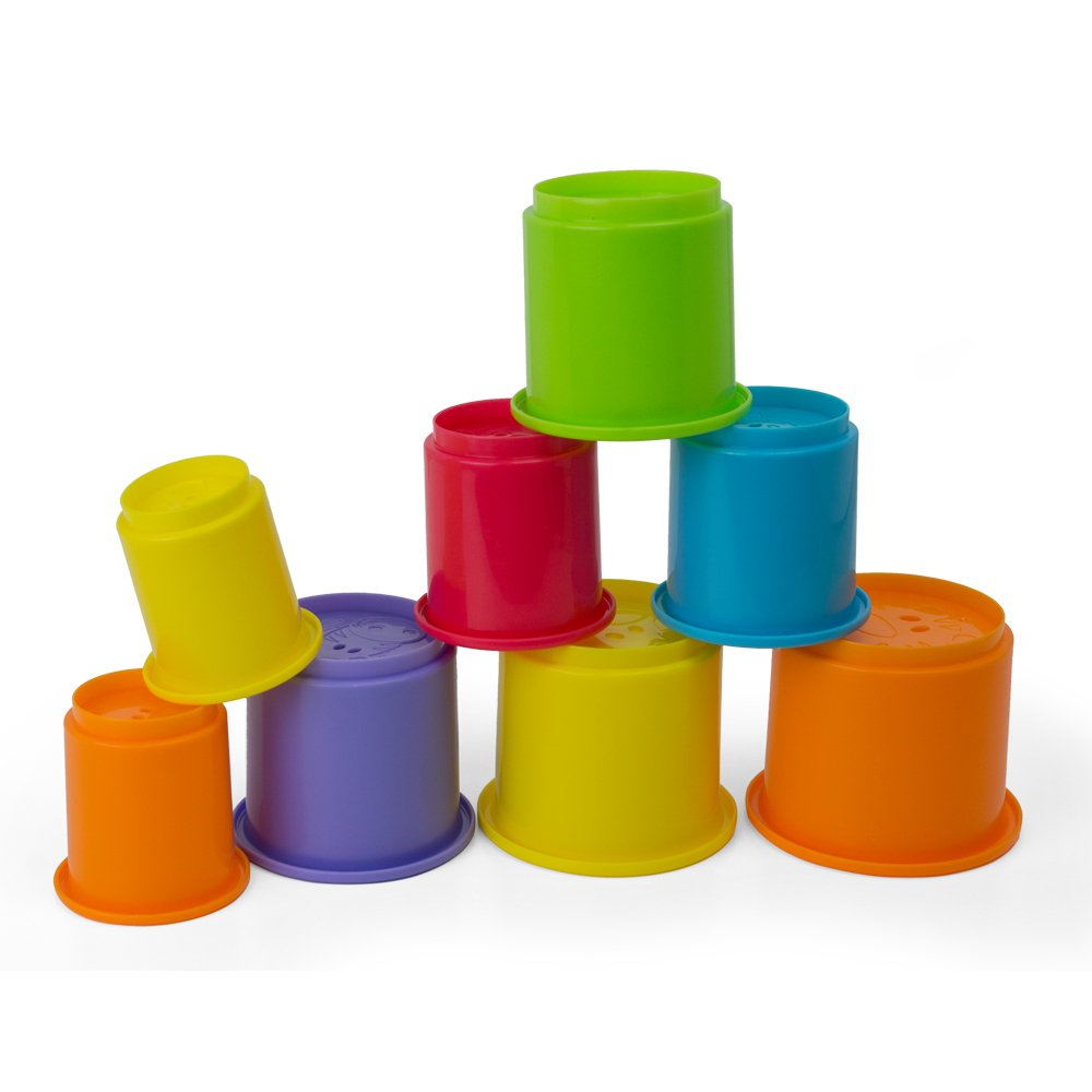 Rainbow Stacking & Nesting Cups Baby Building Set. 8 Pieces. With Embossed Animal Characters. For Indoor, Outdoor, Bathtub, And Beach Fun Toy. Multi Colors by Kidsthrill (Image #4)