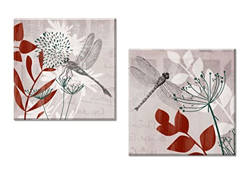 Decor Well - 2 Pieces Orange and Beige Botanical and Dragonfly Canvas Wall Art Decoration Set, Ready to Hang