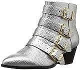 The Fix Women's Hazel 4-Buckle Strap Ankle Boot, Silver Metallic, 7 B US