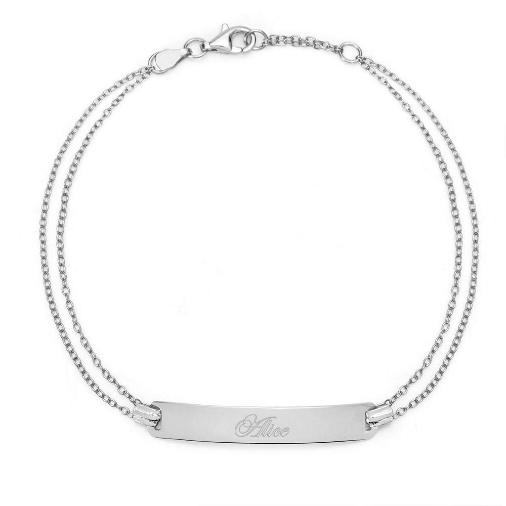 Engravable Sterling Silver Name Bar Bracelet, 7.5 inches by Eve's Addiction