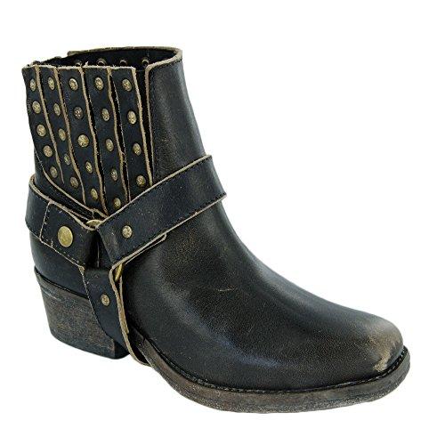 Nye Innhegningen P5038 Ld Svart Sele Og Studs 6 Womens Vestlige Støvler