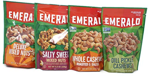 Variety Pack - Emerald Nuts (5 Oz) - Salty Sweet Mixed Nuts, Dill Pickle Cashews, Deluxe Mixed Nuts, Whole Cashews Roasted & Salted