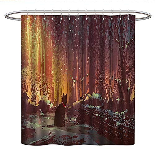 - Anshesix Fantasy Art Decorcloth Shower curtainSurreal Lost Black Cat Deep Dark in Forest with Mystic Lights PictureCurved Shower Curtain rodOrange Brown