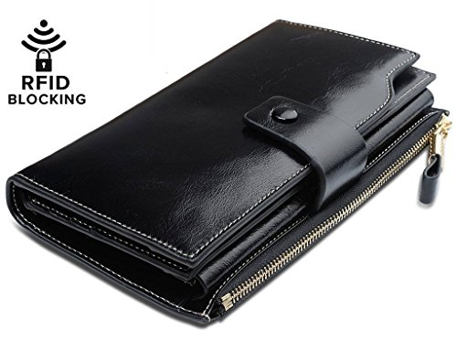 Ladies Black Checkbook Wallet - 1