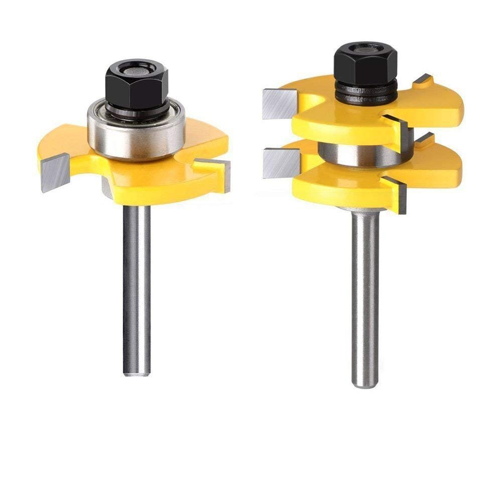 Tongue and Groove Router Bit,WAM Direct 2Pcs Router Bit Set,Wood Door Flooring 3 Teeth Adjustable, 1/4 Inch Shank T Shape Wood Milling Cutter Woodworking Tool,For Professional & Beginner Carpenters