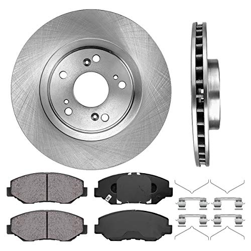 FRONT 300 mm Premium OE 5 Lug [2] Brake Disc Rotors + [4] Ceramic Brake Pads + Clips