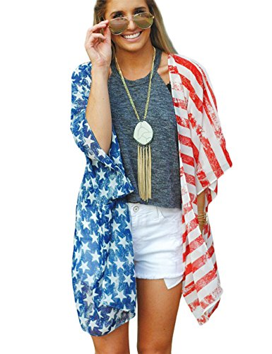 Poptem Women's American Flag Kimono Cover up Beachwear Cardigan Loose Tops Shirt Blouse(Red One Size)