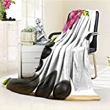 YOYI-HOME Digital Printing Duplex Printed Blanket Spa Beautiful Pink Orchid with Bamboos and Black Hot Stone Massage Image Green Fuchsia Summer Quilt Comforter /W59 x H86.5