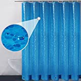 Eforgift Pebble Stones Semi-Transparent Shower Curtain Waterproof Mildew Free 100% EVA Plastic Bathroom Curtain Extra Long 72 x 78 inches with 3 Weighted Magnets, Nontoxic & Eco-Friendly, Royal Blue