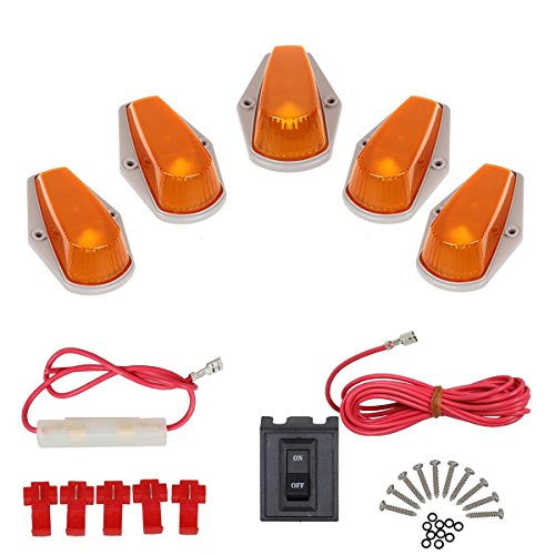 Partsam 5pcs Cab Clearance Marker 15442 Amber Cover Assembly+ 1 Set Wiring Pack for 1980-1997 Ford (F250 Roof Running Lights compare prices)