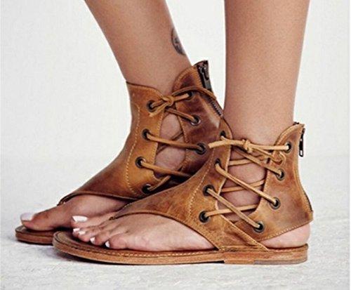 Amarillo Z La De Planos Zapatos QIYUN Mujeres Las Casuales Las De Los De De Sandalias Cordones Playa fxBwqw