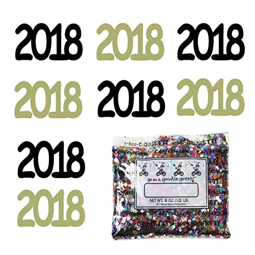 Confetti Year 2018 Black, Gold Combo - Half Pound Bag (8 oz) FREE SHIPPING --- (7270/7272) by Jimmy Jems