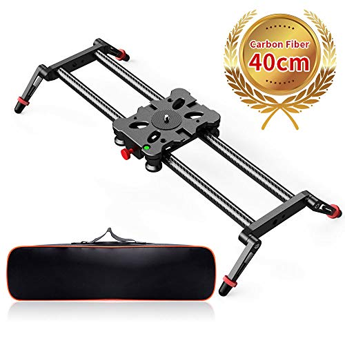 Camera Slider, FOSITAN 15.7 inch Carbon Fiber Dolly Rail Track Slider Video Stabilizer for Camera DSLR Video Movie Photography Camcorder 17.6lbs Loading