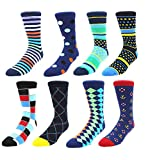 Zmart Men's Argyle Crew Socks, Classic Colorful Assorted Casual Dress Cotton Socks Size 8-14 [8 Pack]