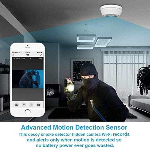 Hidden Camera WiFi Dummy Smoke Detector,FUVISION Spy Camera Wireless Hidden,Nanny Cams Wireless with Cell Phone App,Live View,Night Vision,Motion Detection,Bottom View Nanny Camera for Home and Office