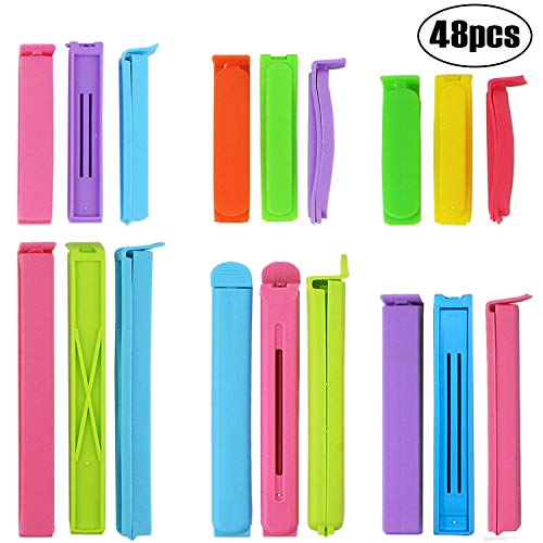 BAKHUK 48pcs Sealing Clips for Food - Bag Clips in 6 Sizes, 2.8/3.6/4.4/5.6/6.4/7.2inch (Best Way To Organize Bags Of Chips)