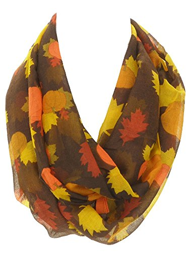 DivaDesigns Women's Light Thin Autumn Leaves and Pumpkins Theme Infinity Scarf Dark Brown -