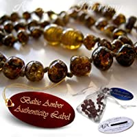 Baltic Amber Teething Necklace For Babies -- AGbA® Certified Authentic w/ Traceable Serial Number -- Famous For Relieving Teething Pain, Drooling, Insomnia -- HIGHEST QUALITY + GENUINE CERTIFICATION + 24 HOURS SHIP (Colour: Earth Honey, Size: 33-36cm)