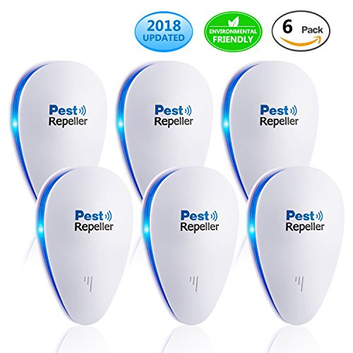 [2018 UPGRADED]]Ultrasonic Pest Control Repeller - Electronic Mouse Repellent & Mosquito Bug Repellent Plug in for Insects - Mice,Rat,Bug,Spider,Mosquito, Flea,Roach,Ant,Fly -Human & Pet Safe (6 PACK) (Rodent In Electronic Repeller Plug)
