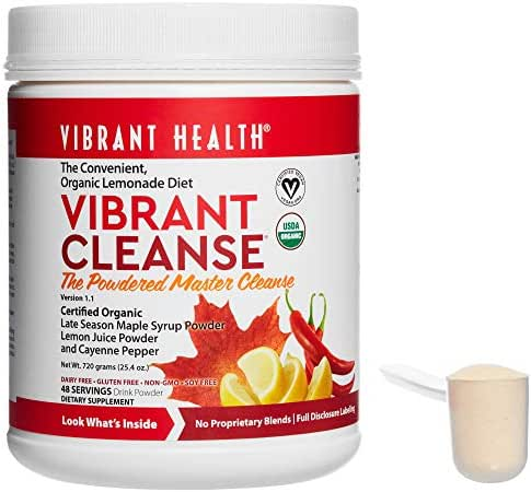 Vibrant Health - Vibrant Cleanse, Powdered Master Cleanse Supports Detoxification to Help Remove Toxins and Waste Naturally with Maple Syrup, Lemon Juice, and Cayenne Pepper, 48 Servings