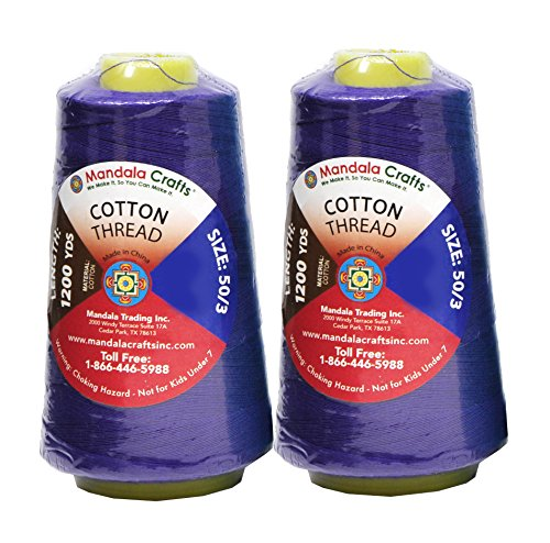 (Mandala Crafts Quilting Cotton Thread Cone for Machine and Hand Sewing, 100 Percent Natural Mercerized, 50 wt (2 Rolls 2400 Yards, Violet))