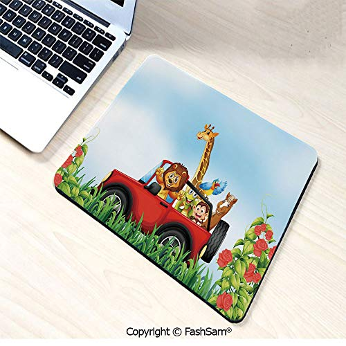 Personalized 3D Mouse Pad Cartoon Style Wildlife Animals Riding a Car in Park with Grass and Roses Journey Trip for Laptop Desktop(W9.85xL11.8)