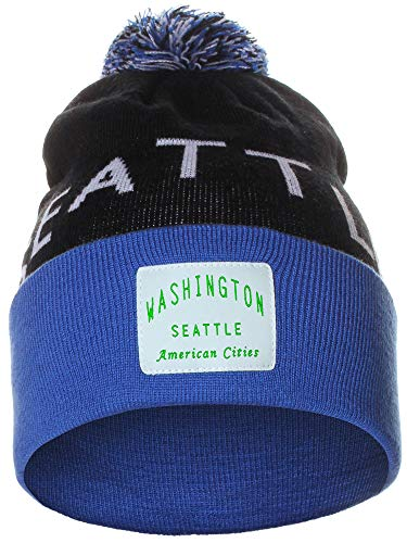 American Cities Seattle Washington Arch Letters Pom Pom Knit Hat Cap ()