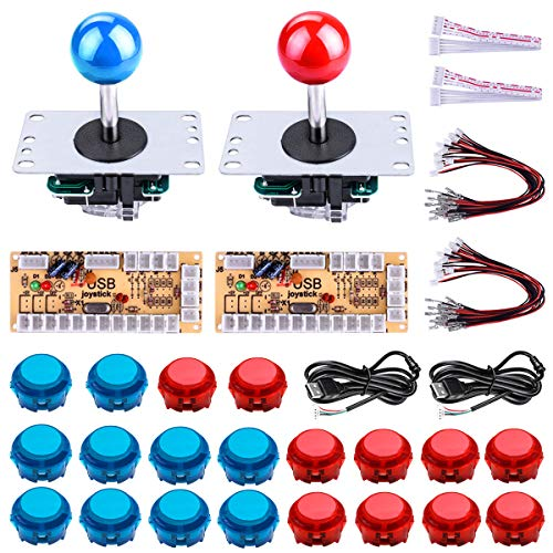 (Gamelec 2-Player Arcade Buttons and Joystick DIY Controller Kit for Windows and Raspberry Pi,x 5 Pin Joysticks,Transparent Red and Blue Each with 10 Buttons)