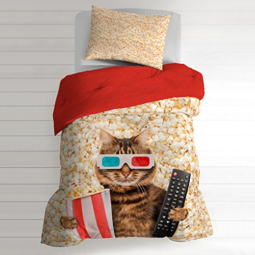 2 Piece Kids Butter Colored Popcorn Comforter Twin Set, Cute Movie Themed Cat Bedding Kitten TV Remote Fun Pattern 3D Glasses Kitty Indie Pop Corn Red Brown, Cotton