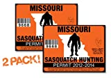 Missouri-SASQUATCH HUNTING PERMIT LICENSE TAG DECAL TRUCK POLARIS RZR JEEP WRANGLER STICKER 2-PACK!-MO