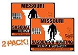 Missouri-SASQUATCH HUNTING PERMIT LICENSE TAG DECAL TRUCK POLARIS RZR JEEP WRANGLER STICKER 2-PACK!-MO