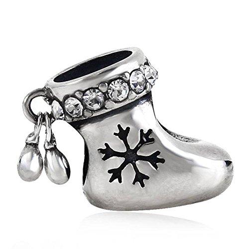 Choruslove Snowflake Christmas Stocking Charm Genuine 925 Sterling Silver Bead for European Bracelets(Clear (Genuine European Crystal)
