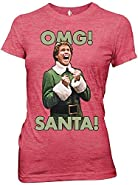 Elf OMG Santa is Coming I KNOW HIM Juniors Soft Christmas T-shirt