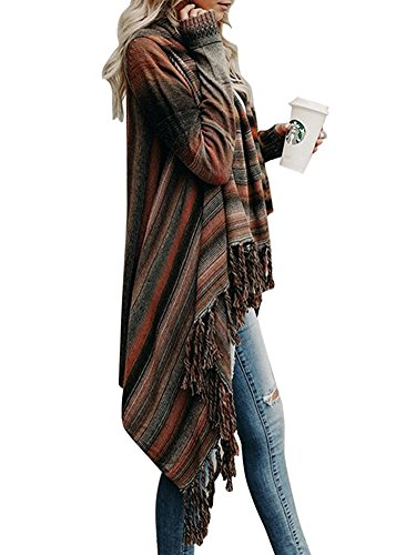 Automne Chandail Cape Asym Minetom Ouvert Tricot Gilet Chic Poncho Femme Sweater Cardigan Hiver En Tassel Mode nXXfZvR