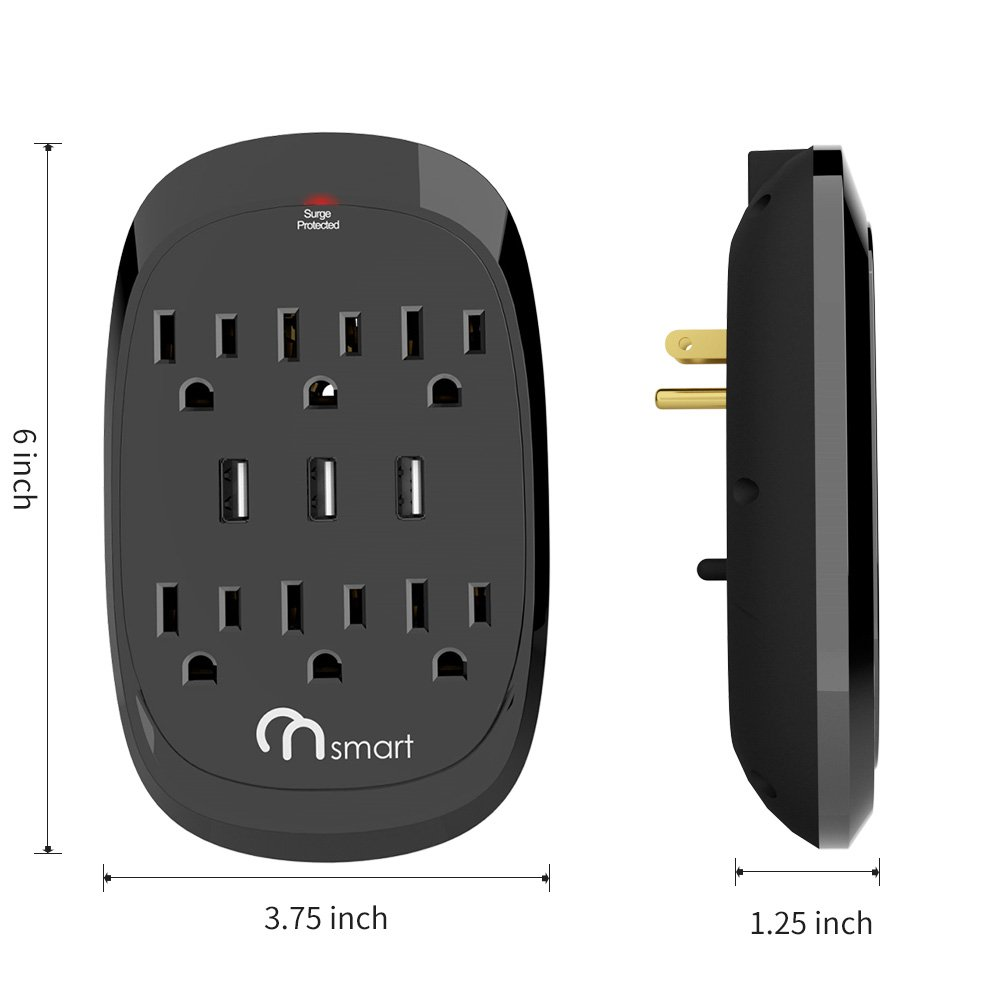 ON USB Wall Tap Surge protector- 6 Outlets Power Strip with 3 USB Charger- 3.4A output- Portable Wall-Mount Socket- 300 J Surge Protection & Smart Charging For Home- Office- Kitchen- Travel- Black by ON Smart Solution (Image #6)