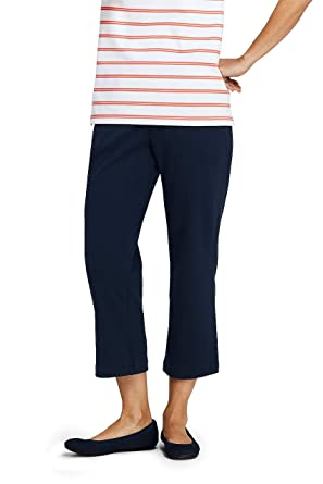 38ce8fafe70b Lands' End Women's Petite Sport Knit Elastic Waist Pull On Crop Pants  Classic Navy