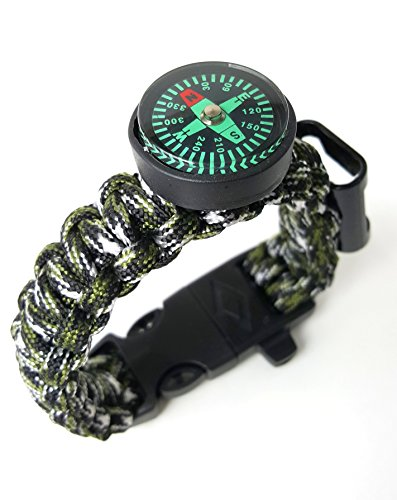 Off-Grid Gear Survival Paracord Bracelet with Updated Waterproof Compass, Knife/Scraper tool, Flint and Bottle Opener - Dragon Fly