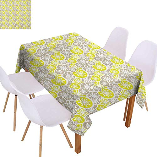 Anti-Fading Tablecloths Abstract,Pale Retro Floral Designs in Circles Asian Japanese Inspired Blossom,Tan Yellow Green White,Dining Room Kitchen Rectangular Table Cover 60